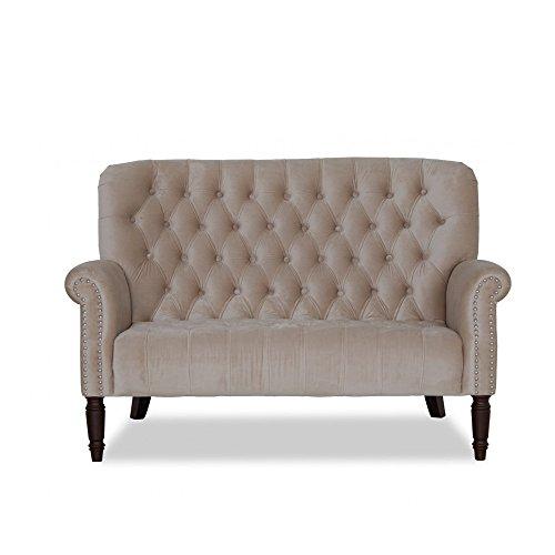 Sofa 2 Sitzer Stoff Polstercouch Beige Samt Velourbezug