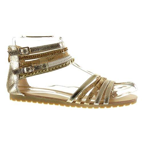 Angkorly Chaussures Mode Sandales Sexy Femme Multi-bridle Chaîne Talon Brillant Talon Plat 1.5 Cm Or