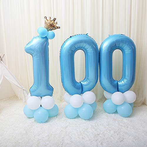 Número 100 Papel Mylar Globos de 36 Pulgadas,Banquete de días Cientos de bebés Globos de Fiesta Globos número para niño Fiesta Chica,Ducha de bebé,Decoración-A