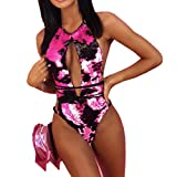 Dasongff Damen BadeanzugPush Up Bikinioberteil Glänzend Badebekleidung Frauen Elegant Bademode Bikini-Sets Einteiler Swimsuit Swimmwear Tankinis Strandmode