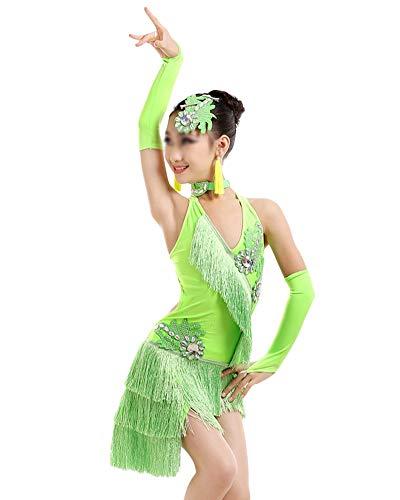 DianShaoA Mädchen Kleid Latin Tanzkleid Pailletten Gesellschaftstanz Kleider Dancewear Tango Samba Performance Kostüme Grün (Samba Tänzerinnen Und Kostüm)