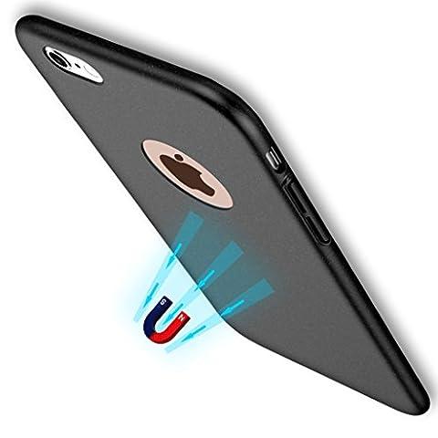 Coque Pour iPhone 7 , Slim Rigide en Plastique, Housse étui Dur Protection Ultra Mince Avec Feuille de métal avec propriétés magnétiques pour Support Voiture Magnetique,Coque Mat Case Matte Anti Empreintes Digitale (Pour iPhone 7, Noir )
