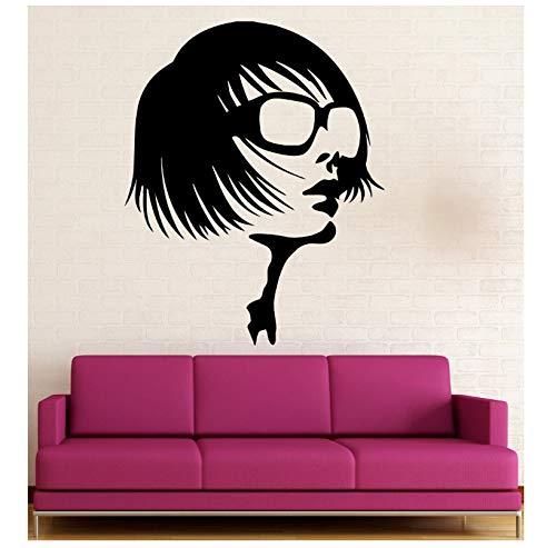 jqpwan Schönheitssalon Wandaufkleber Mädchen Brille Mode Stil Vinyl Aufkleber 57 * 70 cm