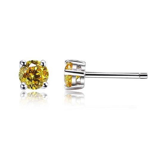 Da donna swarovski elements giallo rotonda stile classico argento 925 orecchini