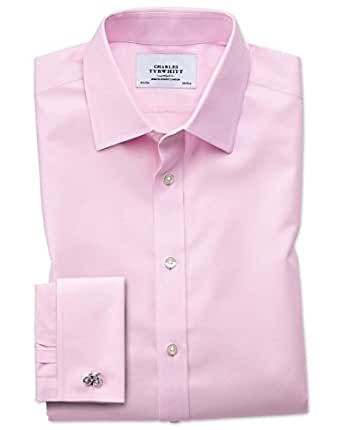 Classic fit non iron twill pink cotton formal shirt double for Charles tyrwhitt shirts review