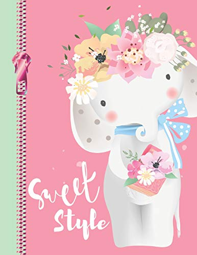 Sweet Style: Cute Bohemian Floral Elephant College Ruled Composition Writing Notebook