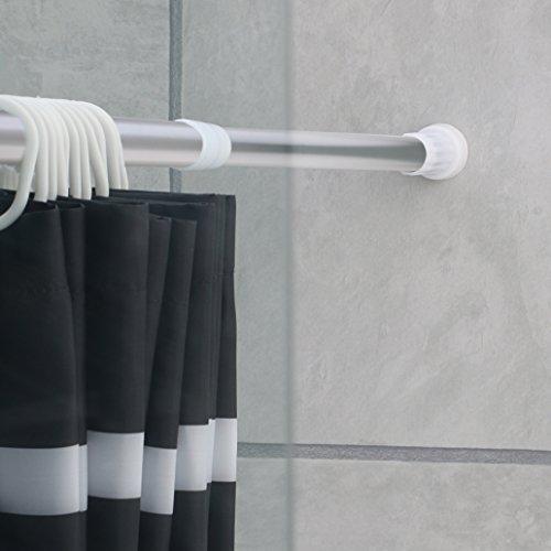 Duschvorhangstange aus Aluminium von ca.110-200 cm ausziehbar -Teleskopstange ohne Bohren anbringen-Halterung für Duschvorhänge, Gardinen, Handtücher