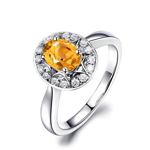 SonMo Ring 925 Silber Verlobungsring Eheringe Heiratsantrag Ring Silber Oval Form Stern Solitär Ring Silber Gelb Topas Ovalschliff Damen Ring Zirkonia 54 (17.2)