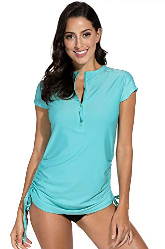For G and PL Damen Rash Guard UV Shirts Half Zip Shirt Schwimmen Badeshirts UPF 50+ Aqua