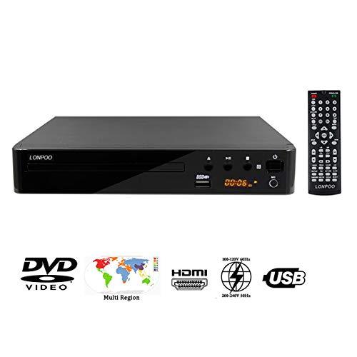LP-099 HD MPEG4 DVD-Player freie Region (Multiformat Wiedergabe mit DIVX, MP3 und JPEG, USB 2.0, HDMI, MIC, CD Ripping Funktion) Schwarz