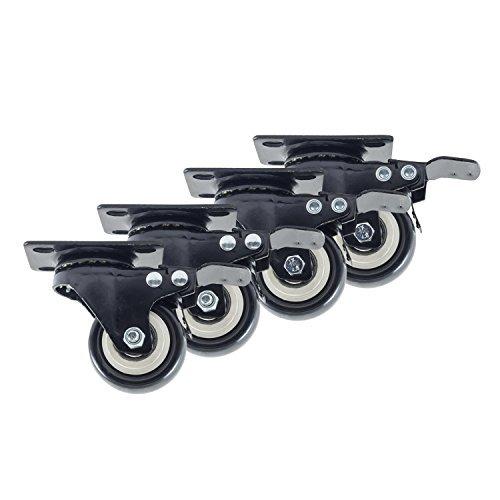 houseables Lenkrollen, 4feststellbaren Rollen, 5,1cm, black, Heavy Duty, 600lb Gesamtkapazität, Gruppiert, Metall drehbare Bremse Rollen, Schlösser, Gummi, Lenkrolle Set, für Möbel, Dolly, Carts (Draht-sicherheits-cart)
