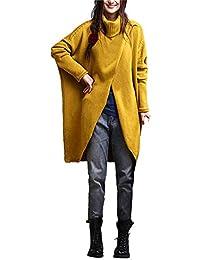 VJGOAL Mujer Otoño E Invierno Moda Casual Color sólido Retro Cuello Alto Dobladillo Aberturas Abanico Dobladillo asimétrico Tejido de Manga Larga Suéter Largo