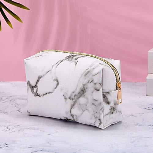 Borsa modello in pietra borsa modello in marmo pu portatile impermeabile impermeabile in pelle cosmetica borsa lavaggio con cerniera dorata 18 * 11 * 8cm bianco