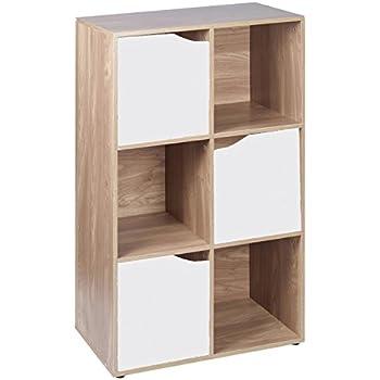 Libreria in legno effetto quercia, 6 cubi modulari ...