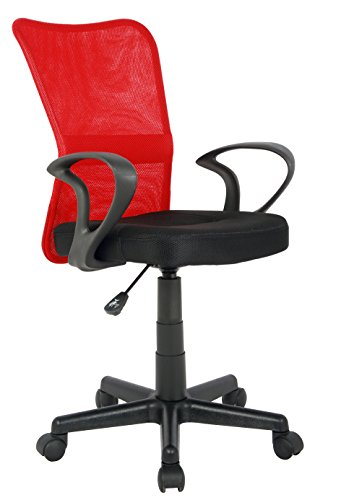 SixBros. Bürostuhl Drehstuhl Schreibtischstuhl Rot/Schwarz H-298F-2/2121