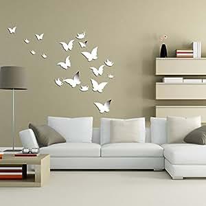 wuiyepo 20st schmetterling 3d spiegel wand aufkleber diy moderne dekoration k che. Black Bedroom Furniture Sets. Home Design Ideas