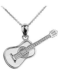 Pendentif guitare acoustique argent