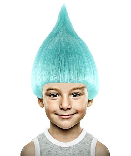 Kostüm King Carnival - Light Blue Trolls 'Biggie' style Wig Adults and Kids (Adults)