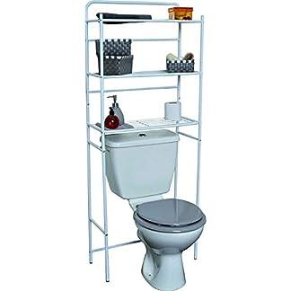 41pgJvJ61UL. SS324  - Mueble para baño WC de metal blanco con 3 estanterías