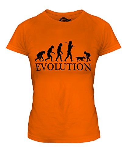 t Hund Evolution Des Menschen Damen T Shirt, Größe X-Small, Farbe Orange (Hund Menschen Kostüm)
