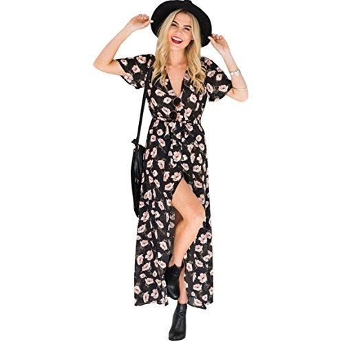 Bellelove,Robe Sommer,Robe longue des femmes, été Vintage Boho Maxi Split Wrap Soirée Plage Floral Dress Imprimer V-Neck biais jupe (UE 36/Asie M, Noir)