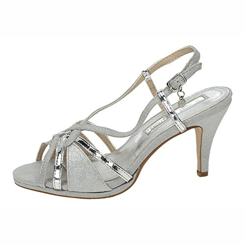 Xti Ladies 30679 Sandali Con Cinturino Alla Caviglia Argento (platino)