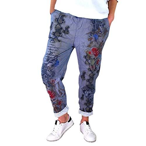 toffhose Damen Solid Einfarbig Schmetterling Schlange Print Muster Bedrucktes Druck Lang Long Casual Lose High Waist Straight Leg Mode Cool Trousers (L,Blau) ()