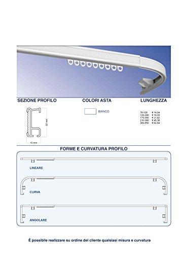 Binario per tenda in alluminio composto da binario velcrato estensibile senza corda, verniciato bianco, montaggio a soffitto,adatto per mantovane l.120/200
