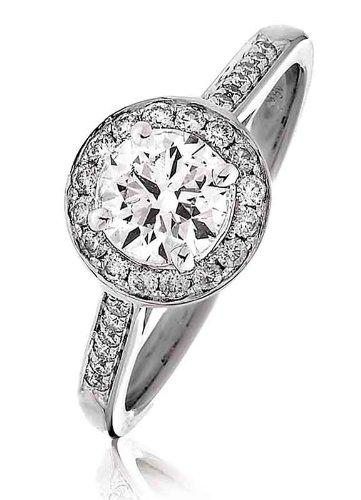 Round Brilliant Cut Claw Set with Halo Diamond Ring with Channel Set Diamond Shoulders in 18K White Gold ()
