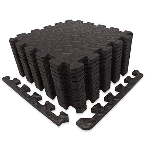 diMio 30x30cm Sport-Schutzmatten Set - 12 Puzzlematten inkl. Randstücke ergibt ca. 1.1qm Schutzmatte/Unterlegmatte / Fitnessmatte/Bodenschutz Matte [30x30cm, schwarz]