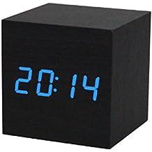 Sannysis® LED Madera Digital Escritorio de alarma; Negro Reloj Control de voz (Azul