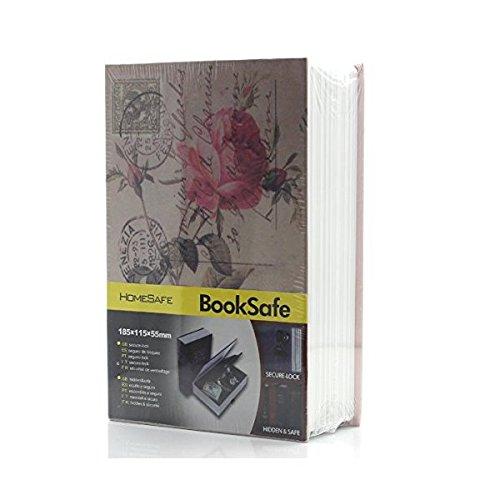 Riipoo Größe M Buch Zeitvertreib Verstecktem Buch Safe mit starkem Metall Case Innen und Key Lock (Rosiness, Größe 18011555mm) (Buch Safe-kombination)