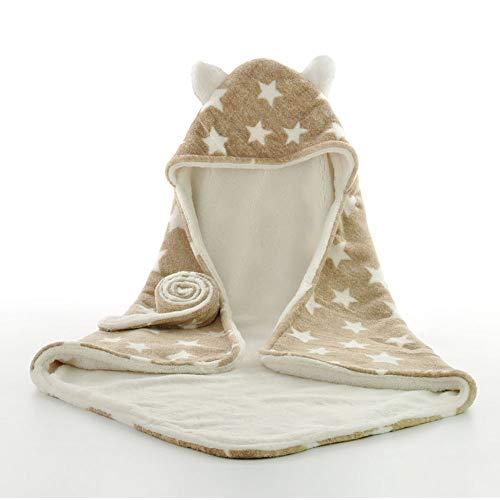 """F.lashes Winter Einschlagdecke für Babyschale Wattiert Baby mit Kapuze empfangen Decke Fleece Bademantel Kuscheldecke Swaddle Wrap Decke 29,5\""""× 29,5\"""""""