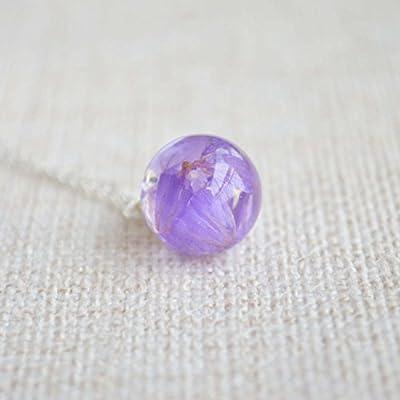 Violet Ne M'oublie Pas Myosotis Vraie Fleur Résine Verre Boule Argent Sterling 925 Chaîne Colliers avec pendentifs
