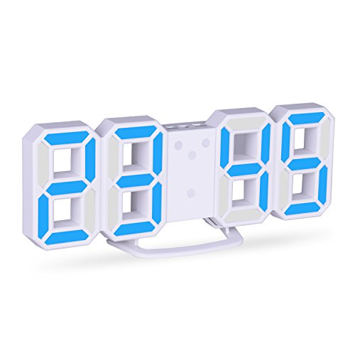 EVILTO 3D Despertador Digital, LED Despertador Electrónico, Reloj Digital Moderno, Reloj de Pared, Visualización de hora 12h / 24h con Función de Alarma, Snooze y Memoria Automática, Luminancia Ajustable con 3 Niveles, Blanco y Azul