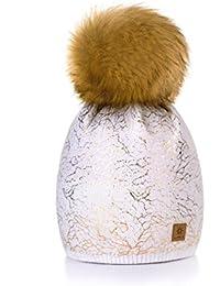 MFAZ Morefaz Ltd Winter Cappello Cristallo Grand Pom Pom Invernale di Lana  Berretto delle Signore delle Donne… a3031032282a