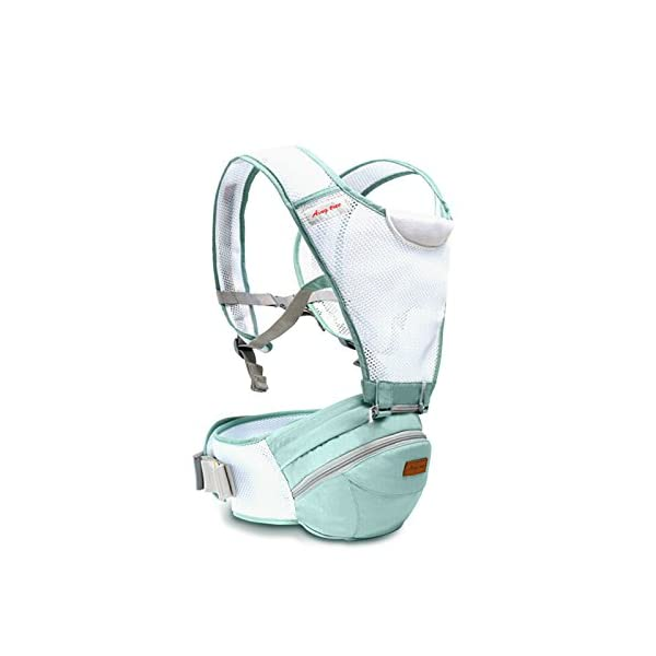 SONARIN 360°Breathable Premium Hipseat Baby Carrier, Ergonomic, Mummy Bag,100% Cotton, Breathable mesh Backing, Cozy & Soothing for Babies,100% Guarantee and Free DELIVERY,Ideal Gift(Green) SONARIN Applicable age and Weight:0-36 months of baby, the maximum load: 36KG, and adjustable the waist size can be up to 45.3 inches (about 115cm). Material:designers carefully selected soft and delicate 100% cotton fabric. Resistant to wash, do not fade, Inner pad: EPP Foam,safe and no deformation.360 ° all-round breathable, to the baby comfortable and safe experience. Description: patented design of the auxiliary spine micro-C structure and leg opening design, natural M-type sitting.Thickening 30mm sponge soft filling, effectively relieve Mommy abdominal force. 3D honeycomb hollow network, summer do not have to hot. 2