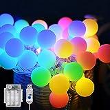 Maxsure Guirnalda Luces, 10M 100 LED, Cadena de Luces, USB y Pilas, 12 Modos, Blanco Cálido y Multicolor, IP65 Impermeable, D