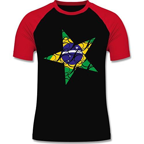 Länder - Brasilien Stern - zweifarbiges Baseballshirt für Männer Schwarz/Rot