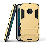 Dream2Cool Graphic Designed Kick Stand Version 3.0 Hard Dual Rugged Armor Hybrid Bumper Back Case Cover For Motorola Moto G5 Plus - Gold