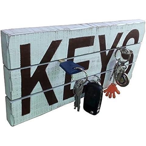 Cuelga llaves vintage, blanco envejecido