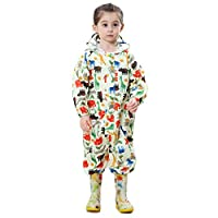 Bwiv Kids Puddle Suits Boys Girls Rainwear Lightweight Raincoat All in One Waterproof Rainsuit Yellow S 1-3 Years