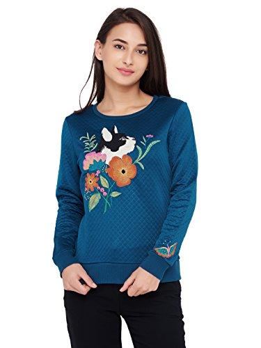 Chumbak Cat Embroidered Ribbed Navy Blue Sweatshirt