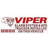 """Platinum Place Adesivi per finestrino, per Viper, con la scritta """"GPS Tracking Device"""" in inglese, di colore rosso/trasparente, da 87 mm x 30 mm, per la sicurezza e di avvertenza, set da 5"""