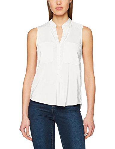 VERO MODA Damen Top Vmerika S/L Solid Shirt Noos, Weiß (Snow White Snow White), 40 (Herstellergröße: L)