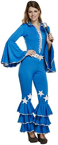 Damen 70er Jahre 80er Disco Diva Pop Star Dancing Queen Halloween Karneval Kostüm Kleid Outfit ()