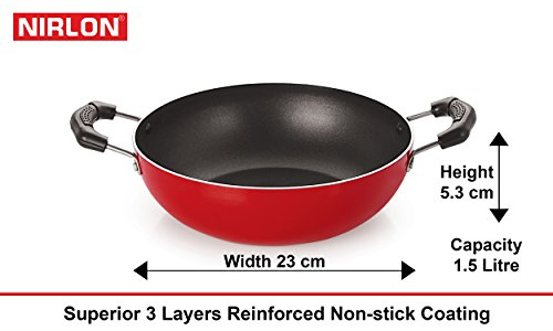 Nirlon Non-Stick Aluminium Cookware Set, 4-Pieces, Red (26_CT_KD12_TP_FT11)