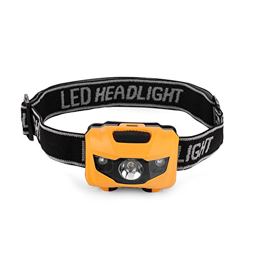 Binwo LED Stirnlampe / Kopflampe, Handfreie Kopflampe, LED Scheinwerfer, Ideal für Camping, Laufen, Angeln, Gassi gehen, Jagd und Lesen, Campinglampe, Aussenleuchte. (Gelb)