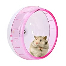 Hamster Wheel Plastic Super Silent Hamster Exercise Wheel Roller Wheel Toy for Small Pets Gerbils Guinea Pig Mice Chinchilla (Pink)