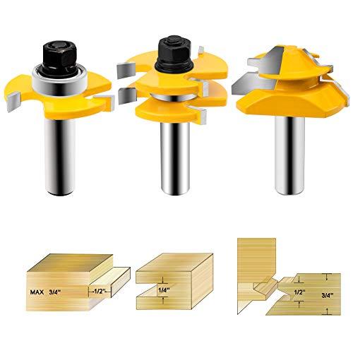 HandsEase Nut- und Federfräser 1/2 Zoll Schaft + 45° Schlossfräser Holzfräser für Türen, Tische, Regale, Wände, DIY Projekt